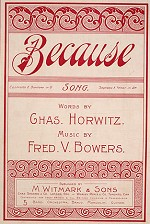 Sheet music to 'Because', 1898.