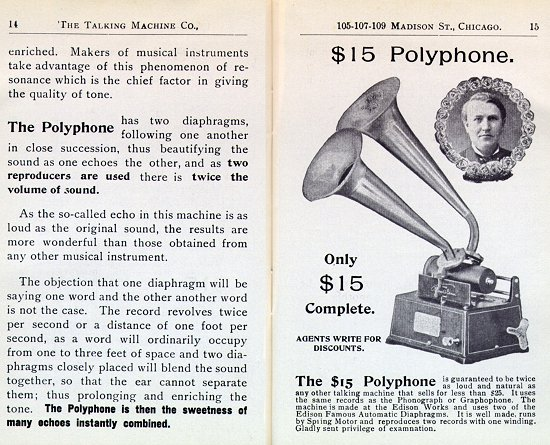 The Talking Machine Company 1899 catalog describing the Polyphone attachment.