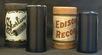 Comparing a Sterling with an Edison record.